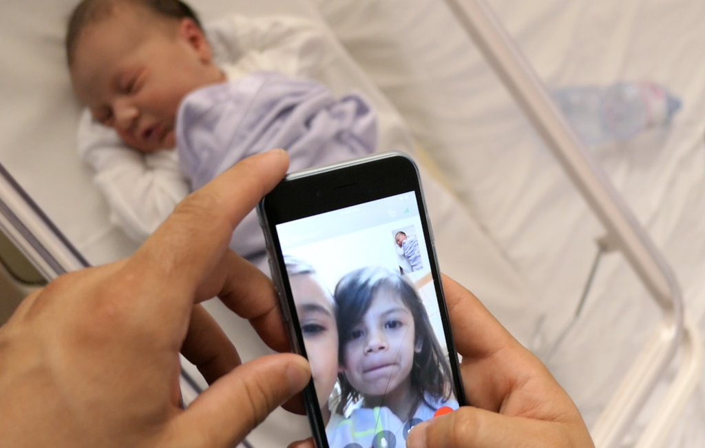 Natural born newborn is skyping family across the world on her first day