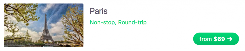 One-way flight to Paris for $69 USD
