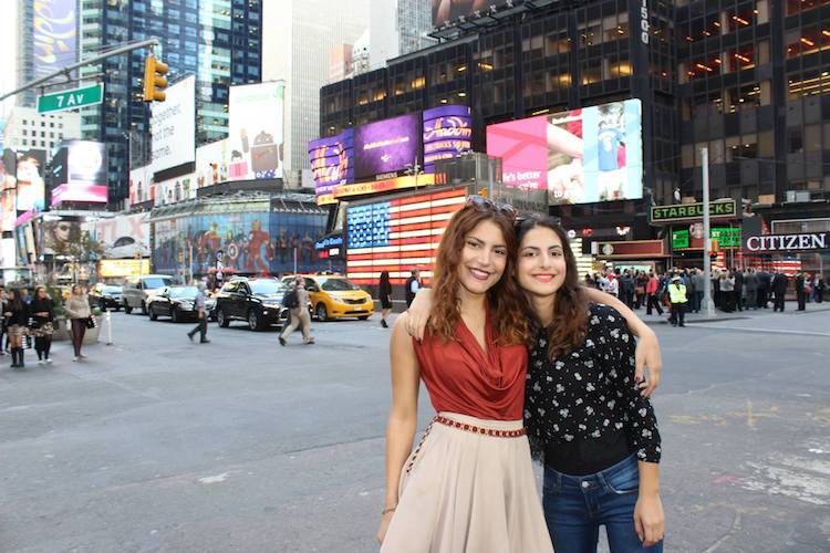 Deborah Ostmo with her sister in New York